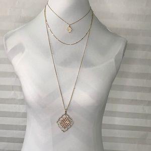 Jewelry - Quatrefoil Pendant Triple Strand Necklace